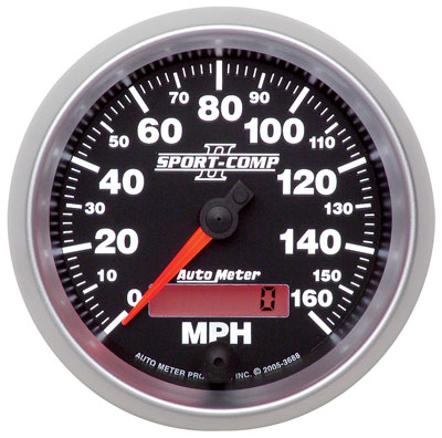 Large photo of Sport Comp II 3 3/8 inch Speedometer, 160mph, Programmable, Pegasus Part No. AM3688
