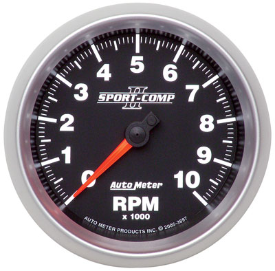 Large photo of Sport Comp II 3-3/8 inch Tach, 10K In-Dash, Pegasus Part No. AM3697