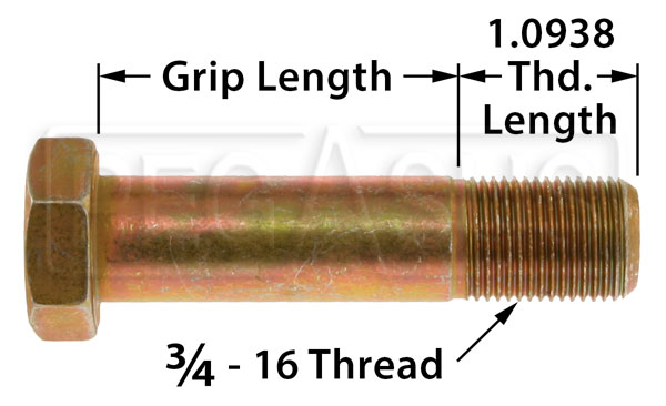 Large photo of AN12 Airframe Bolt, 3/4-16 Thread, Pegasus Part No. AN12-Size