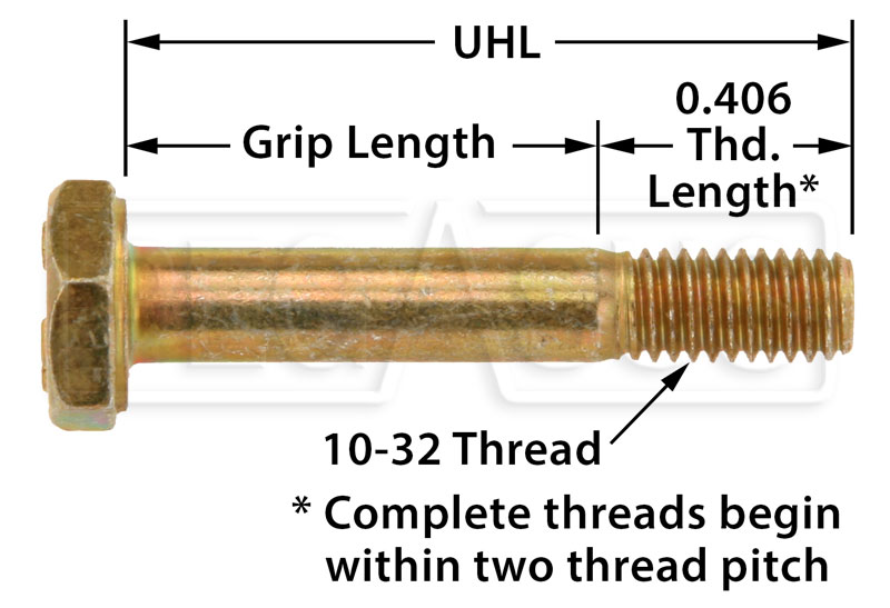 Large photo of AN3 Airframe Bolt, 10-32 Thread, Pegasus Part No. AN3-Size