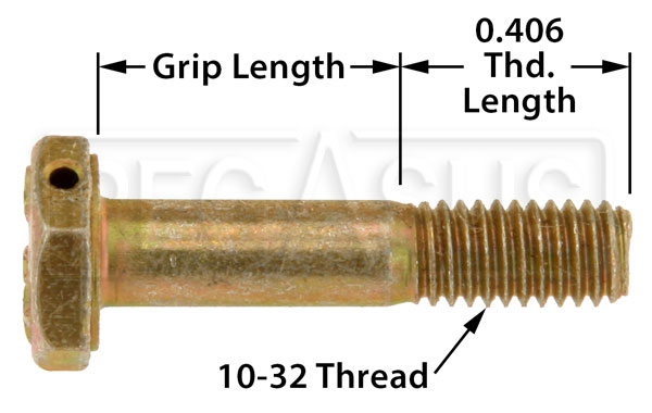 Large photo of AN3 Airframe Bolt - Drilled Head, 10-32 Thread, Pegasus Part No. AN3H-Size