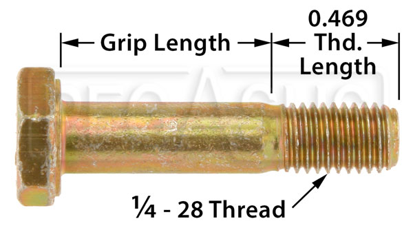 Large photo of AN4 Airframe Bolt, 1/4-28 Thread, Pegasus Part No. AN4-Size