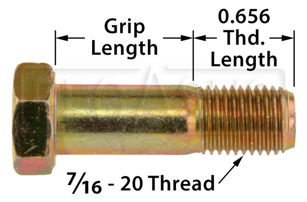 Large photo of AN7  Airframe Bolt, 7/16-20 Thread, Pegasus Part No. AN7-Size