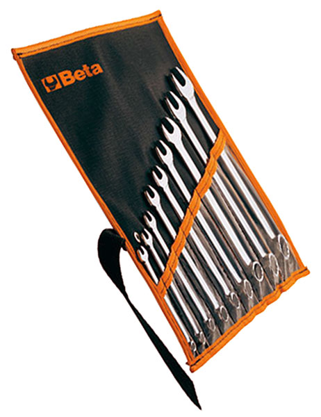 Large photo of Beta 42MP/B9 Set of 9 Chrome Combo Wrenches in Wallet, mm, Pegasus Part No. BT-000420651