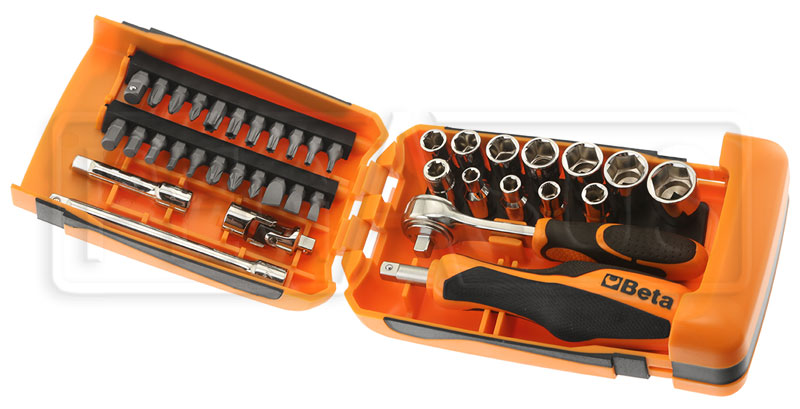 Large photo of Beta 900/C39 Mini Handle/Bit/Socket Set w/Case, 1/4