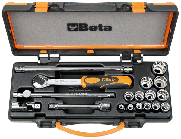Large photo of Beta 910AS/C13 Handle and Socket Set w/Case, 3/8