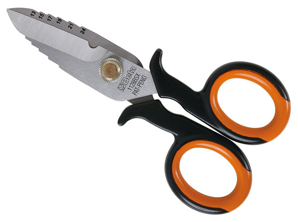 Large photo of Beta Tools 1128BSX Electrician's Scissors with Case, Pegasus Part No. BT-011280060