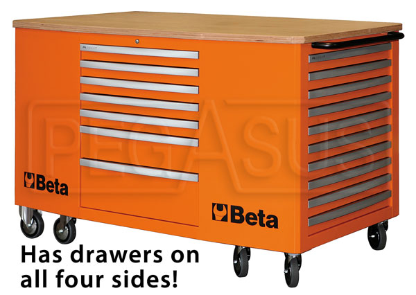 Large photo of Beta C31 28-Drawer Mobile Workstation, Orange - Ships Truck, Pegasus Part No. BT-031000281