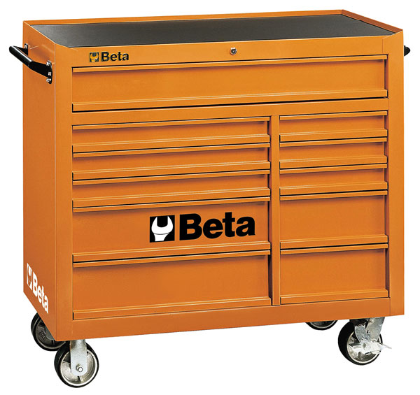 Large photo of Beta C38-O 11-Drawer Roller Tool Cab, Orange - Ships Truck, Pegasus Part No. BT-038000001