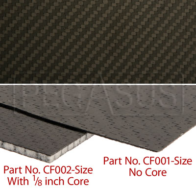 Large photo of Carbon Fiber Sheet, Non-Cored, 1/32 inch nominal thickness, Pegasus Part No. CF001-Size