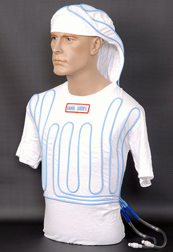 Large photo of Cotton Cool Shirt, White, Short Sleeve with Hood, Pegasus Part No. CS402-Size