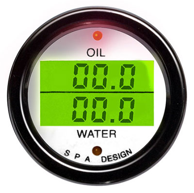 Large photo of SPA Oil Press./ Water Temp. Gauge - White Face Black Bezel, Pegasus Part No. DG200WB