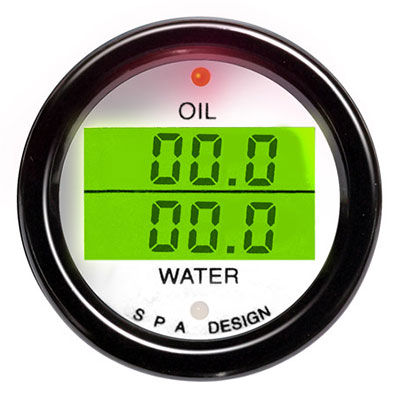 Large photo of SPA Oil Temp./ Water Temp. Gauge - White Face, Black Bezel, Pegasus Part No. DG203WB