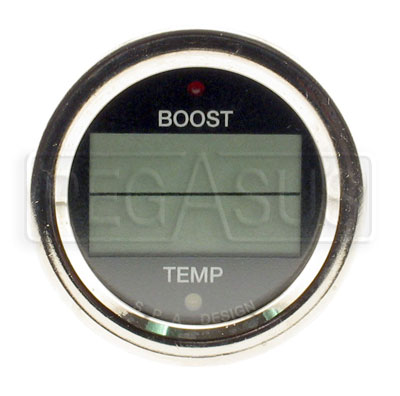 Large photo of SPA Boost / Temperature Gauge - Black Face, Chrome Bezel, Pegasus Part No. DG206BC