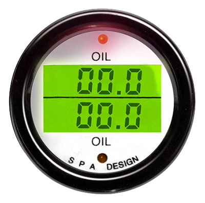 Large photo of SPA Design Oil Temp/ Oil Temp Gauge, White Face/ Black Bezel, Pegasus Part No. DG209WB