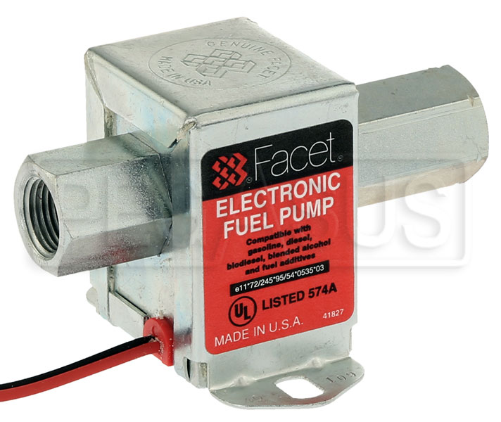 Large photo of Facet Cube Style 12 Volt Fuel Pump, 4 to 7 max psi, 3/8 NPT, Pegasus Part No. FAC-40109