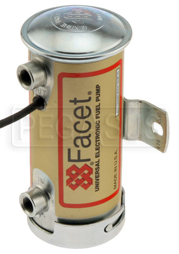 Large photo of Facet Cylindrical Style 12 Volt Fuel Pump, 6 to 8 max psi, Pegasus Part No. FAC-476459