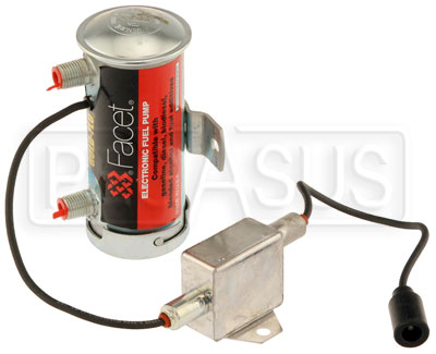 Large photo of Facet Cylindrical Style 24 Volt Fuel Pump with EMI Filter, Pegasus Part No. FAC-480517