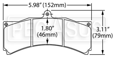 Large photo of Hawk Brake Pad, Champcar, IRL, ETCC, Rally, Alcon, AP, Pegasus Part No. HB121-Compound-Thickness