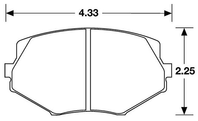 Large photo of Hawk Brake Pad, 94-05 Mazda Miata Fronts (D635), Pegasus Part No. HB149-Compound-Thickness