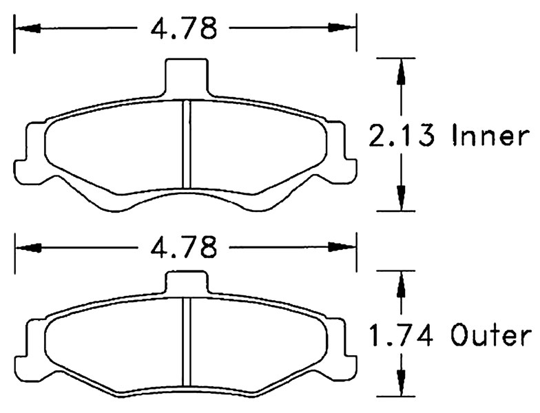 Large photo of Hawk Brake Pad, 98-02 Camaro, Firebird Rear (D750), Pegasus Part No. HB250-Compound-Thickness