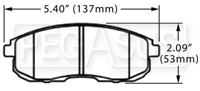 Large photo of Hawk Brake Pad, 2003-05 Nissan 350Z, Infiniti G35 (D430), Pegasus Part No. HB268-Compound-Thickness