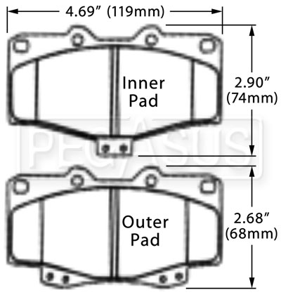 Large photo of Hawk Brake Pad, Toyota Tacoma (D346), Pegasus Part No. HB315-Compound-Thickness