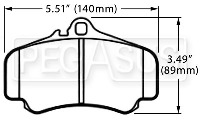 Large photo of Hawk Brake Pad, Porsche 996 GTR, GT3 Cup, Pegasus Part No. HB340-Compound-Thickness