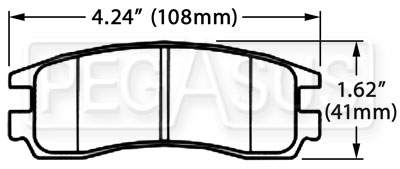 Large photo of Hawk Brake Pad, GM, Saturn Rear (D508, D714), Pegasus Part No. HB359-Compound-Thickness