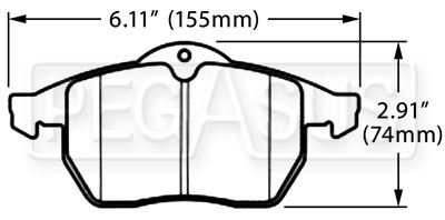 Large photo of Hawk Brake Pad, SAAB, Saturn (D819), Pegasus Part No. HB388-Compound-Thickness