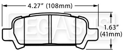 Large photo of Hawk Brake Pad, 02 Subaru WRX Rear (D770), Pegasus Part No. HB434-Compound-Thickness