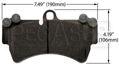 Large photo of Hawk Brake Pad: Porsche Cayenne (D1014), Pegasus Part No. HB501-Compound-Thickness