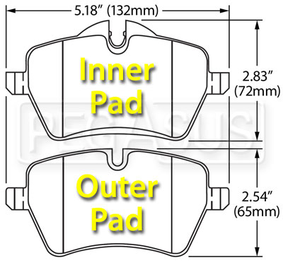 Large photo of Hawk Brake Pad: BMW Mini Cooper (D1204), Pegasus Part No. HB560-Compound-Thickness