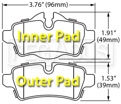 Large photo of Hawk Brake Pad: BMW Mini Cooper Rear, 07-09 (D1309), Pegasus Part No. HB574-Compound-Thickness