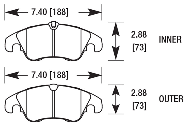 Large photo of Hawk Brake Pad: Audi A5 Quattro, Front (D1322), Pegasus Part No. HB641-Compound-Thickness