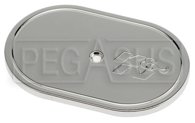 Large photo of K&N Chrome Top Cover, 4.5 x 7 Oval, Center Bolt, Pegasus Part No. KN 06011
