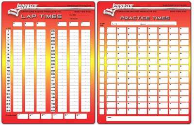 Large photo of Longacre Lap Timing Sheets, 2 Pads, 50 Sheets each, Pegasus Part No. LA22525