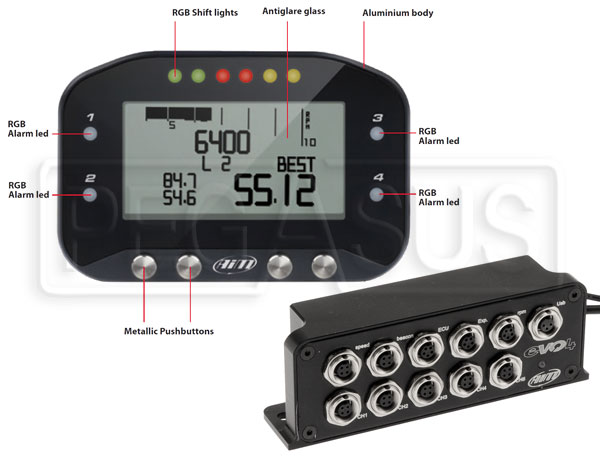 Large photo of AiM EVO4 Data Logger with G-Dash Display, Pegasus Part No. MC-228