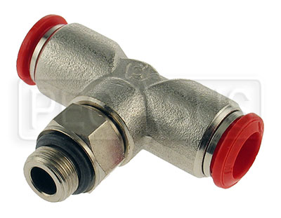 Large photo of OMP T-Shape Nozzle Connector for 8mm OD Aluminum Tubing, Pegasus Part No. OMP-CD392