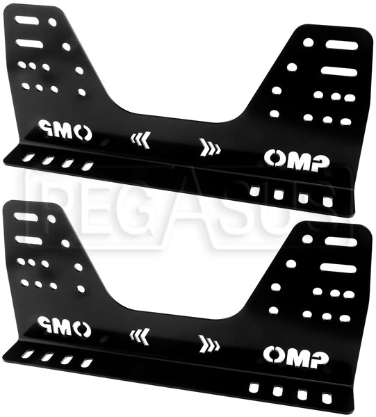 420mm Long High Profile OMP Alloy Car Seat Side Mounts Black