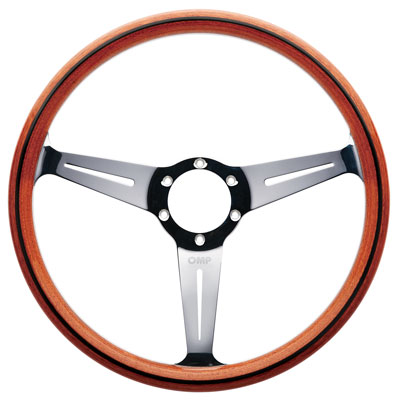 Large photo of OMP Monza Wood-Rimmed Steering Wheel, 360mm, Pegasus Part No. OMP-OD2022
