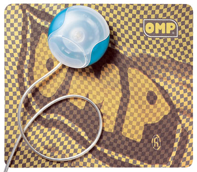 Large photo of OMP Flag Logo Mouse Pad, Yellow / Black, Pegasus Part No. OMP-X895