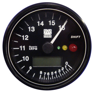 Large photo of SPA Tach/Temp Gauge, 12k RPM, Black Face, Pegasus Part No. SPCT120B