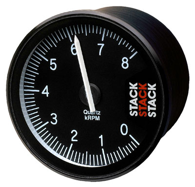 Large photo of Stack Clubman Tachometer, Black Face, Pegasus Part No. ST200-LOWRPM-MAXRPM