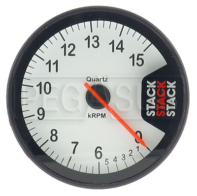 Large photo of Stack Clubman Tachometer, White Face, Pegasus Part No. ST200W-LOWRPM-MAXRPM