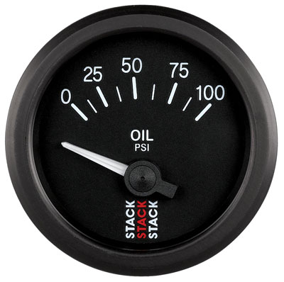 Large photo of Stack Analog Oil Pressure Gauge, Electric, 0-100 psi, Pegasus Part No. ST3202