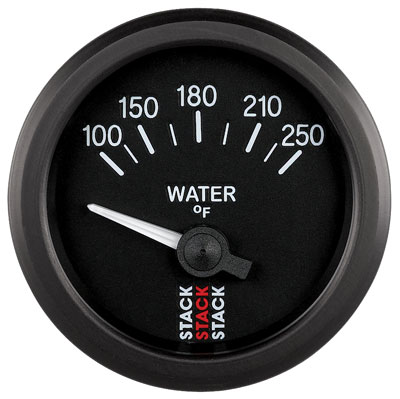 Large photo of Stack Analog Water Temperature Gauge, Electric, 100-250 F, Pegasus Part No. ST3208
