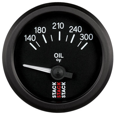 Large photo of Stack Analog Oil Temperature Gauge, Electric, 140-300 F, Pegasus Part No. ST3210