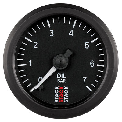 Large photo of Stack Stepper Analog Oil Pressure Gauge, 0-7 Bar, Pegasus Part No. ST3301