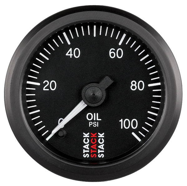 Large photo of Stack Stepper Analog Oil Pressure Gauge, 0-100 psi, Pegasus Part No. ST3302